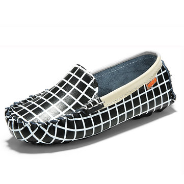 Enfants occasionnels appartements chaussures filles garcons cuir espadrilles enfants bateau chaussures à enfiler des mocassins&