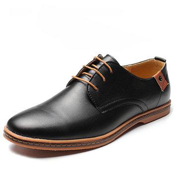 Grands hommes de taille couleur pure lacer européen de style britannique plat chaussures oxford occasionnels