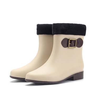 Les femmes bottes de pluie garder bottes chaudes en peluche occasionnels extérieures étanches anti-dérapant cheville