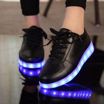 Unisexe usb LED dentelle légère des chaussures de sport lumineux deux sneaker lumineux
