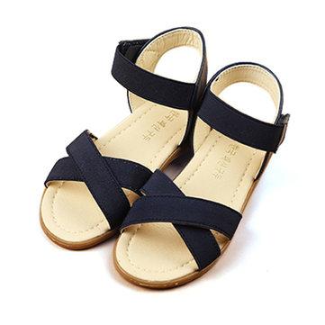 Sandales robe de princesse chaussures enfants plage respirante appartements à bout ouvert les enfants causales Roman filles l'été