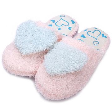 Coeur doux coton en peluche pantoufles domicile chaussures&