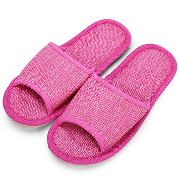 Pures couleur lin maison pantoufles linge chaussures d'intérieur