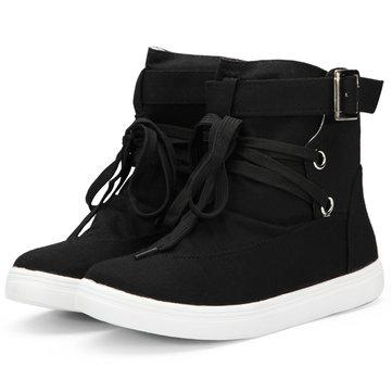 Top en haut dentelle plat chaussures de toile formateurs occasionnels bottines