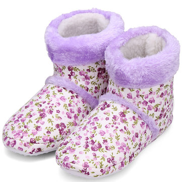 Florales belles chaussures à domicile pantoufles pied d'hiver plus chaud
