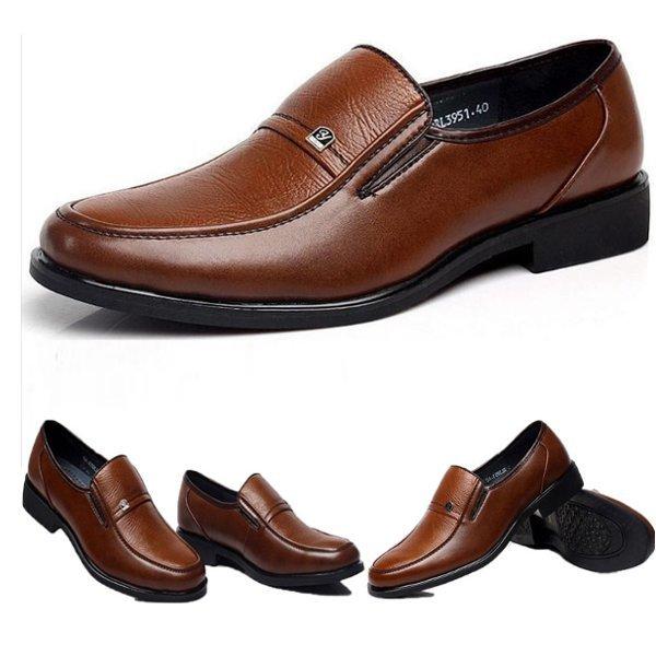 Mens brun oxford chaussures habillées en cuir travaux affaires fainéants